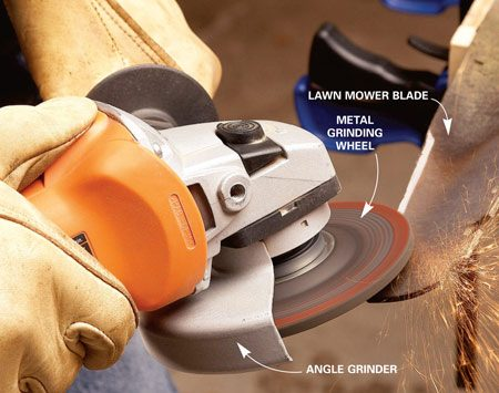 <b>Photo 3: Make light passes</b></br> Grind the blade carefully with an angle grinder to remove nicks and dents and restore the edge. Make several light passes to avoid overheating the blade.