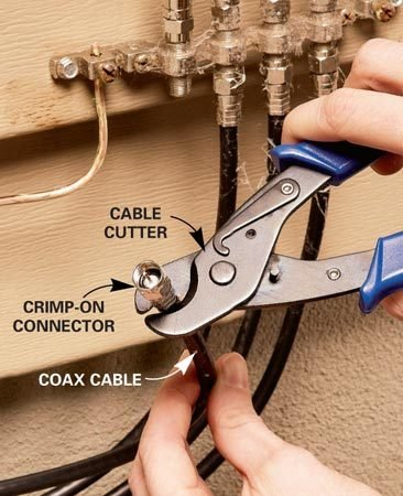 <b>Photo 1: Cut the end</b></br> Your coaxial cables corrode over time, which can result in a bad picture on your television. To fix, begin by cutting off the old ends.