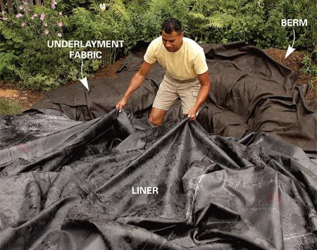<b>Photo 2: Install the underlayment and rubber</b><br/>Line the hole with underlayment fabric and the rubber liner. The underlayment cushions the liner against punctures from stones or roots.