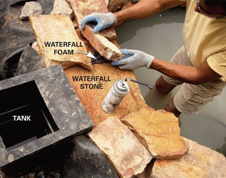 <b>Photo 6: Form the waterfall</b><br/>Form the waterfall with a large, flat stone. Set the side stones over foam sealant so water won&#39;t flow sideways into the waterfall wall.