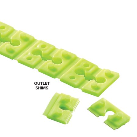 <b>Outlet shims</b></br> Outlet shims solve the problem created when electrical boxes are recessed too deeply; use them as needed for new installations and for repairs to old, wobbly outlets.