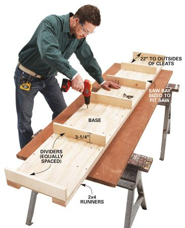 <b>Photo 2: Assemble</b></br> Screw runners to the base after you attach the dividers. Then screw on the plywood back followed by the top.