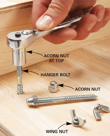 <b>Photo 4: Hanger bolts hold the saw</b></br> Drive the hanger bolts using acorn nuts. Remove the acorn nuts, set the saw in place and lock it down with wing nuts.