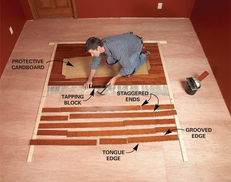 <b>Photo 3: Glue the field down</b></br> Lay the field. You'll probably use two or three boards butted end to end for each row; stagger the ends of boards at least 6 in. from the previous row. Be exact! Don't force the guide boards outward or leave gaps. Use a tapping block to protect board edges as you install them.