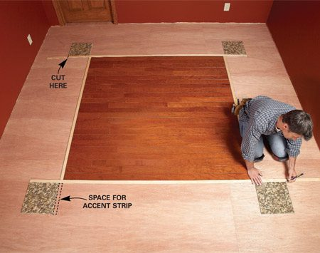 <b>Photo 6: Fasten the next accent pieces</b></br> Set the second set of accent strips in place, allowing space for the tile and short accent strips installed in the next step. Cut and install the strips.