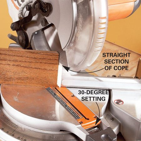 <b>Faster coping cuts</b></br> If you're coping baseboards or other moldings that have a relatively long straight section, cut the straight section with the miter saw instead of your coping saw. You'll get a straighter cut and save time. After cutting the first 45-degree, swing the miter saw to 30 degrees and cut along the straight section of the cope. Be careful to lift the blade before releasing the trigger. If you're careful and have a steady hand, with a little practice you can even rough out curvy sections of copes with the miter saw. Then it only takes seconds to fine-tune the cope with a file.