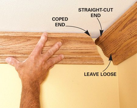 <b>Corner joint trick</b></br> When you install crown moldings, don't nail within 2 ft. of the inside corner on the end of the straight-cut pieces. Leaving the end loose allows you to shift the molding slightly to align perfectly with the intersecting coped molding. Since the end is trapped by the coped piece, it doesn't require nails to stay in place.