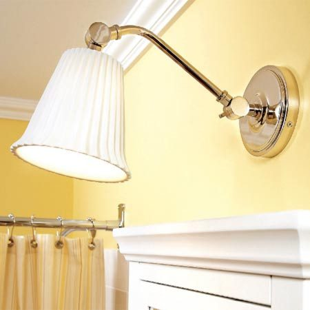 <b>Extended light fixture</b></br> Make sure the fixture puts the bulb out over the mirror for good lighting.