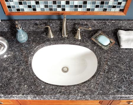 <b>Granite top</b></br> Pre-made granite tops are surprisingly affordable and elegant.
