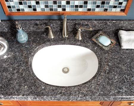 <b>Granite top</b></br> Pre-made granite tops are surprisingly affordable and elegant.