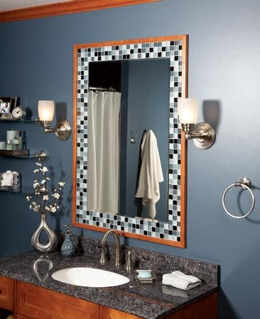 <b>Side-lit mirror</b></br> Mount fixtures on each side of the mirror for the best lighting. The tile frame adds style.
