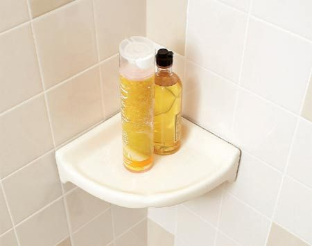 <b>Corner shower shelf</b></br> Shower shelves make compact and handy storage nooks for soaps and shampoos.