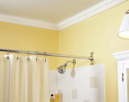 <b>Add crown molding</b></br> Crown molding is inexpensive, yet adds elegance to a bathroom.