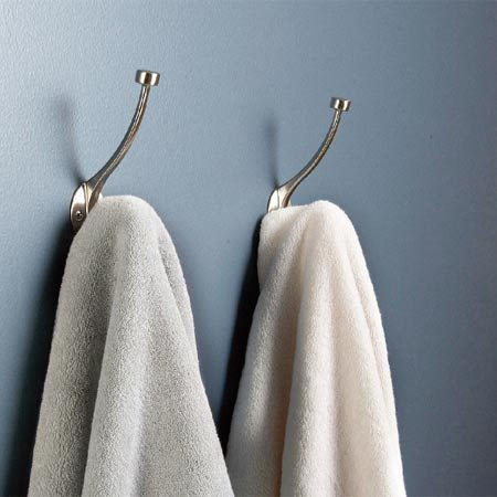 <b>Stylish towel hooks</b></br> Buy towel hooks that match the style or finish of the faucet.
