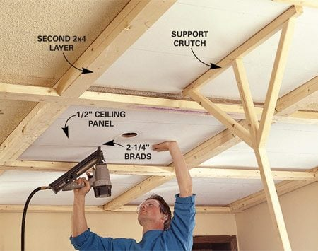 <b>Photo 4: Install the panels</b></br> Cut the panels to size, prime them and then nail them through the drywall into the joists.