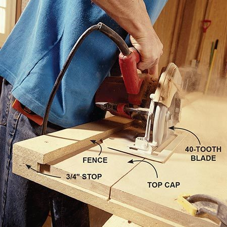 <b>Photo 5: Cut the trim</b></br> Rip the top cap trim using a ripping jig. The simple three-part jig gives you straight cuts and perfect widths.