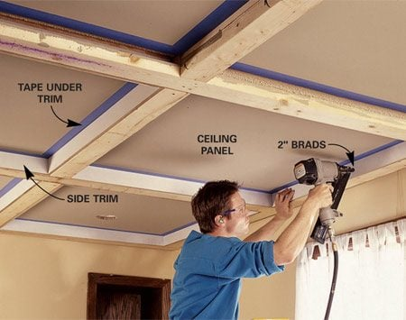 Ceiling panels how to install a beam and panel ceiling for Adding wood beams to ceiling