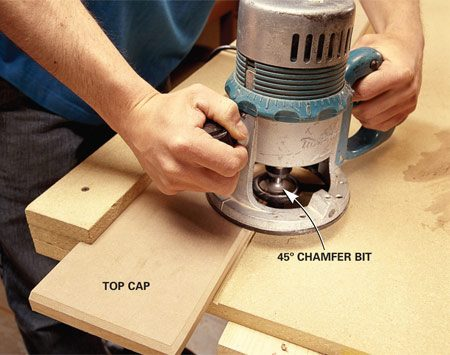 <b>Photo 9: Rout and install the caps</b></br> Use the top cap ripping jig to hold the caps in place while you rout the edges. Cut them to length and nail them to the grid with 2-in. brads.