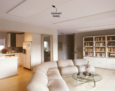 <b>Radiant ceiling panels</b></br> Radiant panels work best for spot heating certain areas of a room. Photo courtesy of Solid State Heating Corp.