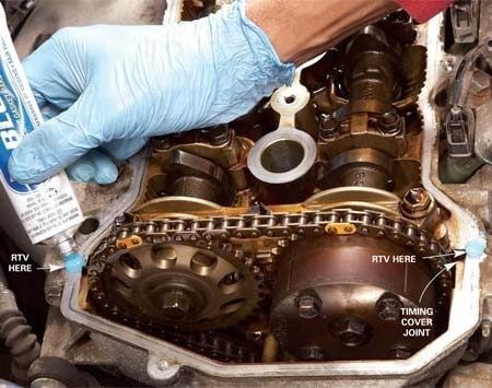 <b>Photo 2: Install the new gasket</b></br> Seal the timing cover joint with a small bead of RTV. Then install the valve cover and torque the bolts to specifications.