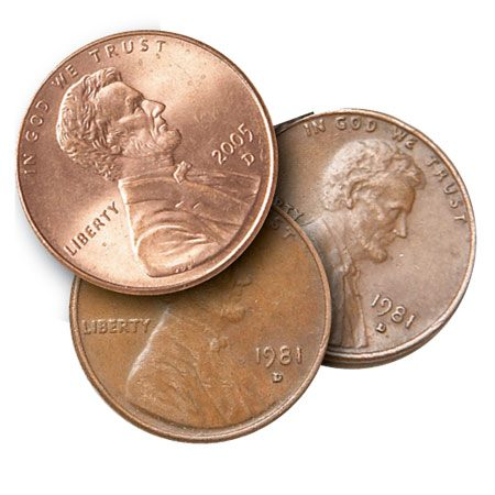 <b>Three pennies</b></br> You'll use three pennies as spacers to make your sled slide smoothly.