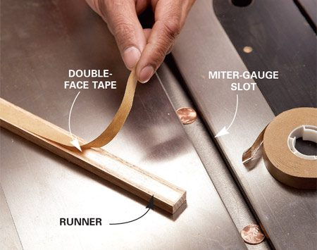 <b>Photo 1: Apply double-faced tape</b></br> Stick double-faced tape to the runner. Three pennies in the slot will keep the runner slightly above the saw table so it'll stick to the sled's underbelly.