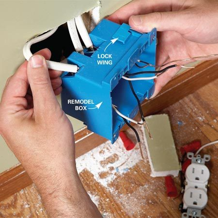 <b>Photo 2: Install the new box</b></br> Enlarge the hole to accept a new double electrical box. Fit the wires through the box as you work it into place. Then tighten the lock wings and do the final wiring.