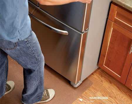 <b>Hardboard floor protection</b></br> Lay down 1/8-in. hardboard or stiff cardboard to protect floors when moving appliances.