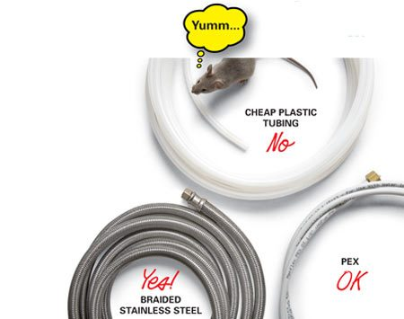 <b>Ice-maker tubing options</b></br> Braided stainless steel is the best choice.