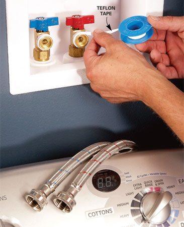 <b>Taping valve threads</b></br> Wrap valve threads with Teflon tape.