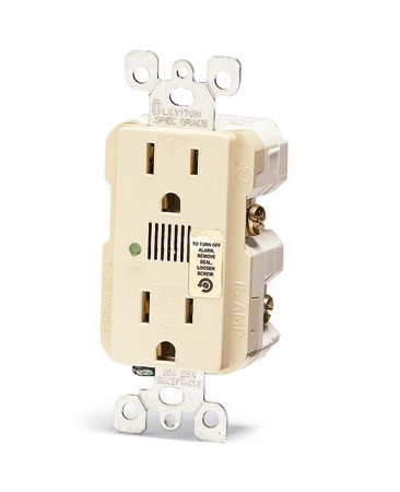<b>Close-up of a surge suppressor receptacle</b></br> This special receptacle contains surge suppression features.