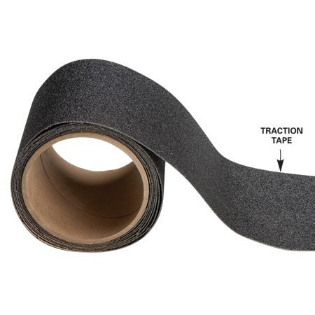 <b>Traction tape</b></br> Traction tape sticks ferociously, but only to a well-sealed surface.