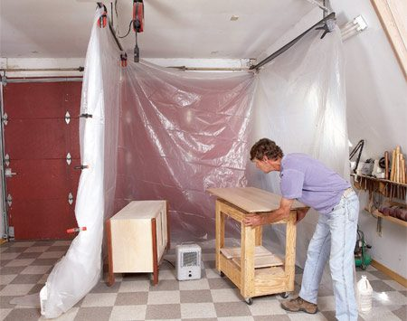 <b>Dust-free area</b></br> For big projects, build yourself a temporary drying booth with poly sheeting. If it's cool, use an electric space heater to hasten drying and shorten the time that dust can become embedded in the finish.