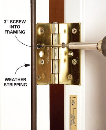 <b>Photo 3: Anchor hinges to frame</b></br> Strengthen the hinge side of the door by replacing one of the screws in each hinge with a 3-in.-long screw that penetrates the framing.