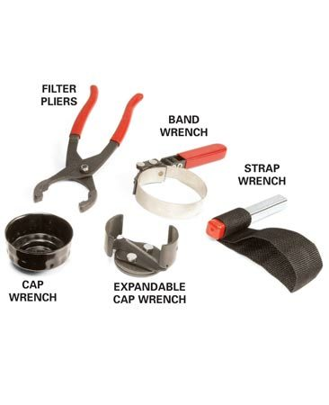 <b>Oil filter wrenches</b></br> Different oil filter wrenches work best for different cars. Select the one that gives you the most room to maneuver.
