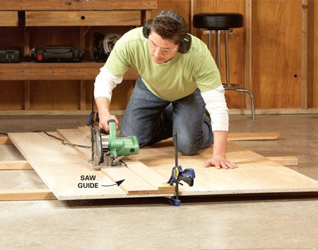 <b>Photo 1: Saw guide</b></br> Get perfectly straight, accurate cuts with a circular saw using a homemade saw guide. Clamp the saw guide at your mark on the plywood.