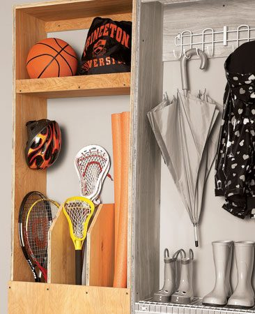 <b>A compact organizer for all kinds of equipment</b></br> The cabinet dividers let you store long-handled sports gear, like hockey sticks, bats and rackets. The lip on the top shelf keeps balls from falling off. Nail the lip to the shelf before installing the shelf at any height that suits your needs.