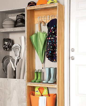 <b>An airy hangout for damp or dirty coats and boots</b></br> The wire shelves in this cabinet allow boots to drip dry and air to circulate freely so clothes will dry. The extra-wide screw strip lets you attach coat hooks. To build the cabinet, you'll need 6 ft. of 12-in.-deep wire shelving and coat hooks.