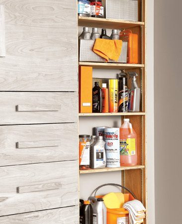 <b>Spacious, adjustable shelves that cut garage clutter</b></br> This open-shelf cabinet needs a fixed shelf in the middle to keep the sides from bowing, but you can make the rest of the shelves adjustable. Install as many adjustable shelves as you want—this cabinet can hold a lot of stuff!