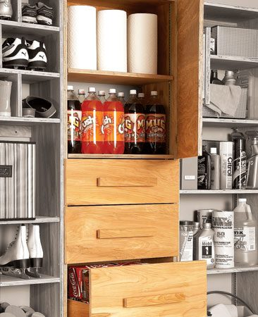 <b>Bulk storage that frees up kitchen space</b></br> If you buy groceries in bulk, this is the storage solution for you. The bottom drawers in this cabinet are deep enough to hold two cases of soda. The top drawers are perfect for canned goods or bottled water. The upper shelves are adjustable for more bulk storage. The cabinet faces and door keep everything enclosed.
