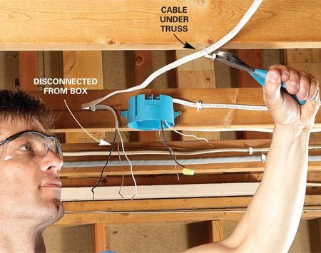 <b>Move surface-mounted wire</b></br> Disconnect wiring that will interfere with hanging the drywall. First shut off the power. Then disconnect the cable at the nearest electrical box and use side-cutting pliers to carefully pry out the staples.