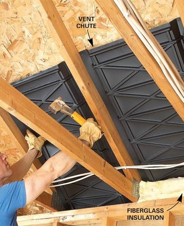 <b>Install air chutes</b></br> Create a clear path for airflow from soffit vents to roof vents by stapling vent chutes between roof trusses. Prevent blown-in insulation from filling soffits by blocking the channels with plastic or wood and stuffing fiberglass insulation under the chutes.
