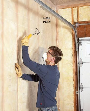 "<b>Add vapor barrier</b></br> Protect walls from interior moisture and reduce air leaks with poly sheeting. Overlap corners, being careful not to create a ""bridge"" that would interfere with the drywall. Use only enough staples to hold the poly while you install the drywall."