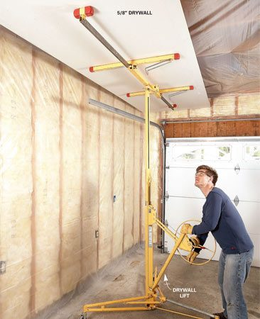 <b>Use a drywall lift</b></br> Save your back with a rented drywall lift. Just set the drywall on the lift, crank it up, and jockey it into position.