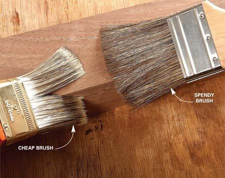 "<b>Identify a good brush</b></br> <p>Dave showed us how to  tell a quality   paintbrush from a cheap  one—good to   know when you're at the  hardware   store. First, he stroked  a cheap plastic-bristle   brush against a table  edge; the   bristles split apart.  When he stroked an   expensive ox-hair brush  on the edge,   the bristles wrapped  around and covered   the corner.</p> <p>Dave's advice: ""If you're  serious   about finishing, invest  in high-quality   brushes. If you clean  them well, they'll   last a lifetime, minimize  brush marks   and hold more finish, so  you don't   have to reload the brush  as often. I'll   spend  up to $50 for a good brush."" </p>"