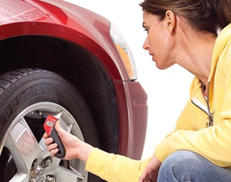 <b>Check tire pressure every month</b></br> <p>All tires lose air, so check your tires monthly. Always use the same tire pressure gauge and check the air pressure first thing in the morning, not after you've driven on them or they've been sitting in the hot sun. Inflate to the pressures listed on the <em>carmaker's decal</em> (on the driver's door or jamb), NOT the maximum pressure listed on the tire. The recommended tire pressure is based on the <em>weight</em> of your particular vehicle, not the tire brand or tread style. </p>