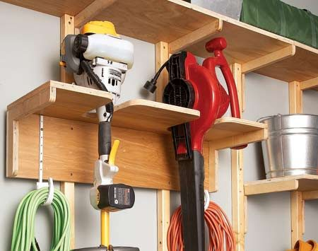 <b>Yard tools</b></br> Create a rack to fit your tools, rather than trying to fit your tools to a standard rack.
