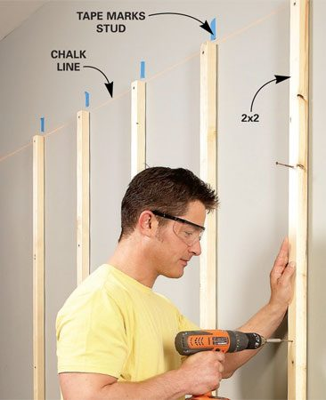 "<b>Vertical supports</b></br>  Screw 2x2 struts to each wall stud. Snap a chalk line to align the tops of the struts and mark the stud locations with masking tape. Drill pilot holes or use ""self-drilling"" screws to avoid splitting the struts."