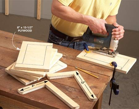 <b>Cut rectangles first</b></br> Cut shelf brackets from scrap plywood. Cut the scraps into rectangles first, using a table saw or circular saw. That keeps time-consuming jigsaw cuts to a minimum.