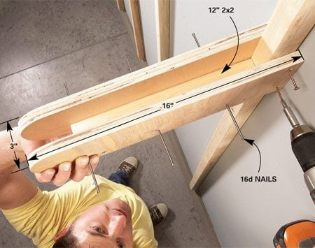 <b>Attach brackets</b></br> Slip the bracket over the strut and screw it into place. Be sure to drive nails into the bracket's outside edge <em>before</em> you install it. Leave 1-1/2 in. of the nails exposed to hang tools.